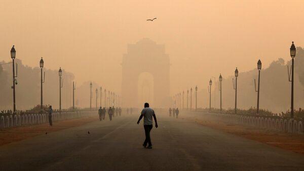 Người đàn ông ở Cổng Ấn Độ, bị che phủ trong sương khói, ở New Delhi - Sputnik Việt Nam
