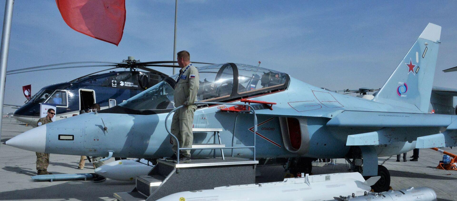 Máy bay huấn luyện chiến đấu Yak-130 tại triển lãm hàng không quốc tế Dubai Airshow 2019, Dubai - Sputnik Việt Nam, 1920, 29.01.2020