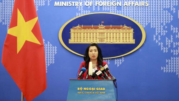 Người phát ngôn Bộ Ngoại giao Lê Thị Thu Hằng trả lời các câu hỏi của phóng viên trong nước và quốc tế. - Sputnik Việt Nam