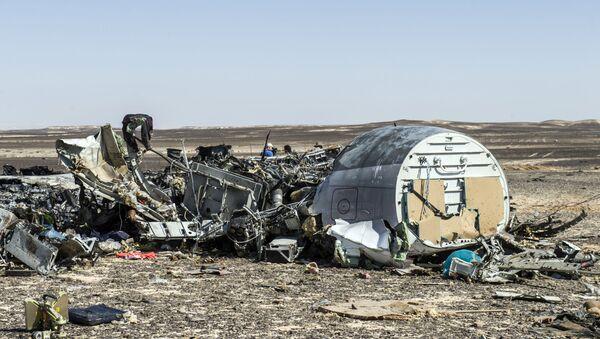 Mảnh vỡ máy bay Airbus A321 của hãng Kogalymavia, bay từ thành phố Sharm el Sheikh đến Saint Petersburg. - Sputnik Việt Nam