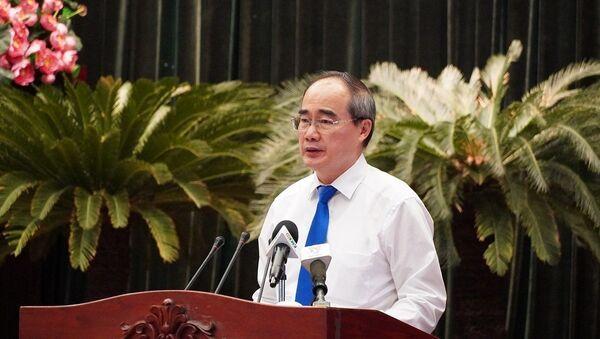 Đồng chí Nguyễn Thiện Nhân, Ủy viên Bộ Chính trị, Bí thư Thành ủy thành phố Hồ Chí Minh phát biểu tại hội nghị.  - Sputnik Việt Nam