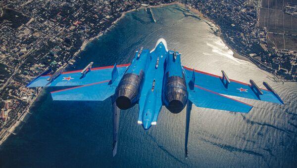Máy bay chiến đấu hạng nặng siêu thanh đa năng, hoạt động trong mọi điều kiện thời tiết Su-27 của đội thuật lái Hiệp sĩ Nga  - Sputnik Việt Nam