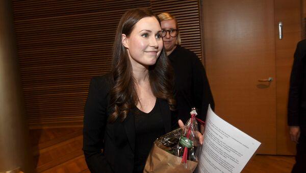Ứng viên Thủ tướng Phần Lan Sanna Marin 34 tuổi sau cuộc bỏ phiếu tại Helsinki, Phần Lan  - Sputnik Việt Nam