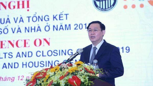 Phó Thủ tướng, Trưởng ban Ban Chỉ đạo tổng điều tra dân số và nhà ở Trung ương Vương Đình Huệ phát biểu chỉ đạo.  - Sputnik Việt Nam