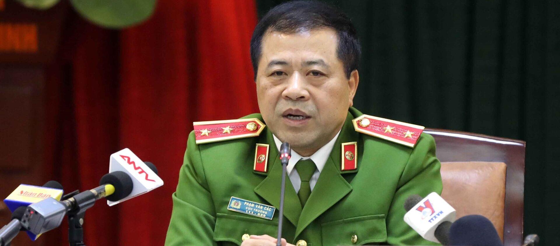 Trung tướng Phạm Văn Các, Cục trưởng Cục Cảnh sát điều tra tội phạm về ma túy thông tin cho phóng viên báo chí - Sputnik Việt Nam, 1920, 21.12.2019
