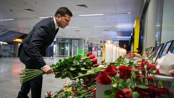 Tổng thống Ukraine Vladimir Zelensky tại sân bay Kiev Borispol. - Sputnik Việt Nam