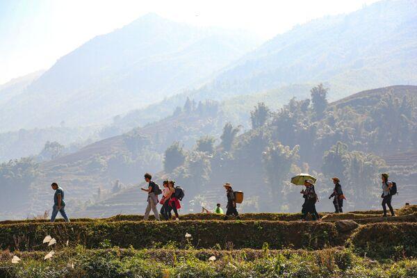 Du khách trên núi ở tỉnh Lào Cai, Việt Nam - Sputnik Việt Nam