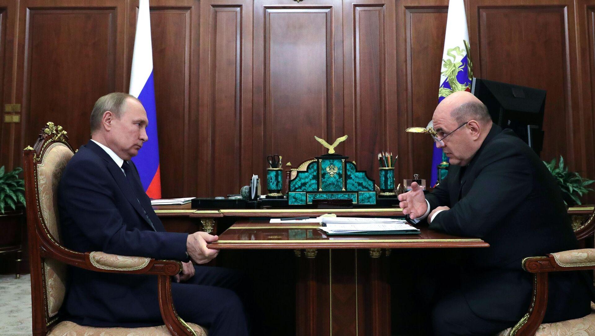 Cuộc gặp giữa Tổng thống LB Nga Vladimir Putin và Thủ tướng mới của Liên bang Nga Mikhail Mishustin - Sputnik Việt Nam, 1920, 23.05.2021