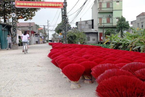 Những bó tăm hương phơi khô trên đường phố làng Quảng Phú Cầu - Sputnik Việt Nam