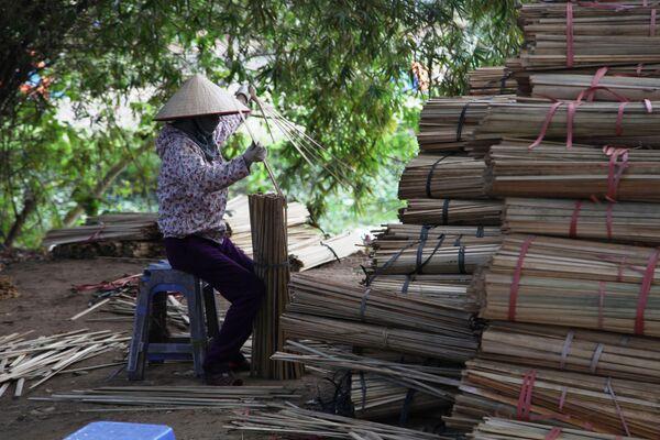 Người phụ nữ loại bỏ những thanh tre hỏng - Sputnik Việt Nam