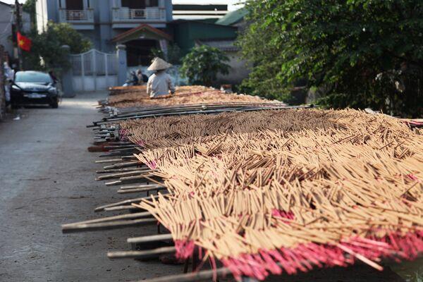 Que hương nhuộm màu được trải ra để phơi khô  - Sputnik Việt Nam