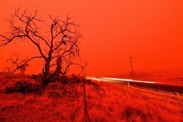 Xa lộ trong khói lửa cháy rừng ở ngoại ô Cooma, Australia, năm 2020 - Sputnik Việt Nam