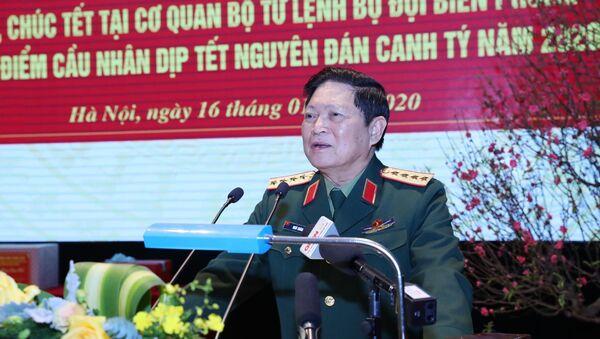 Bộ trưởng Bộ Quốc phòng Ngô Xuân Lịch phát biểu, chúc Tết lực lượng Bộ đội Biên phòng. - Sputnik Việt Nam
