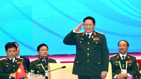 Đại tướng Ngô Xuân Lịch, Bộ trưởng Bộ Quốc phòng Việt Nam điều hành cuộc gặp.  - Sputnik Việt Nam