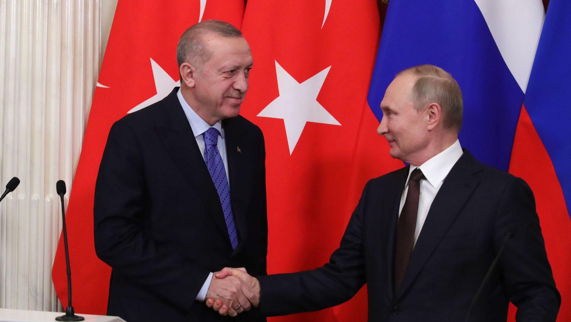 Cuộc gặp giữa Tổng thống Nga Vladimir Putin và Tổng thống Thổ Nhĩ Kỳ Recep Tayyip Erdogan tại Điện Kremlin, Matxcơva  - Sputnik Việt Nam, 1920, 28.09.2021