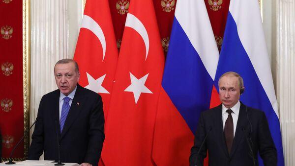 Cuộc họp báo chung sau cuộc gặp giữa Tổng thống Thổ Nhĩ Kỳ Recep Tayyip Erdogan và Tổng thống Nga Vladimir Putin - Sputnik Việt Nam
