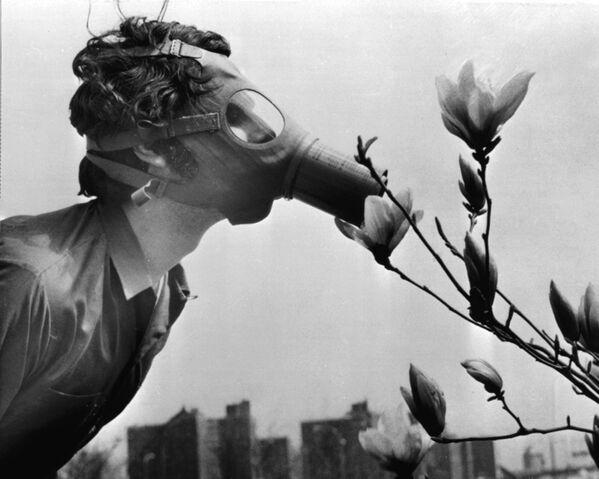 Sinh viên đeo mặt nạ khí ngửi bông hoa trong cuộc tuần hành Ngày Trái đất, Hoa Kỳ, năm 1970 - Sputnik Việt Nam