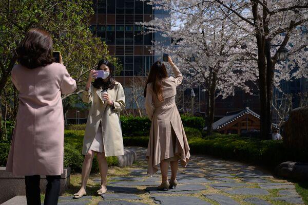 Nhân viên văn phòng đeo khẩu trang tại trung tâm thành phố Seoul - Sputnik Việt Nam