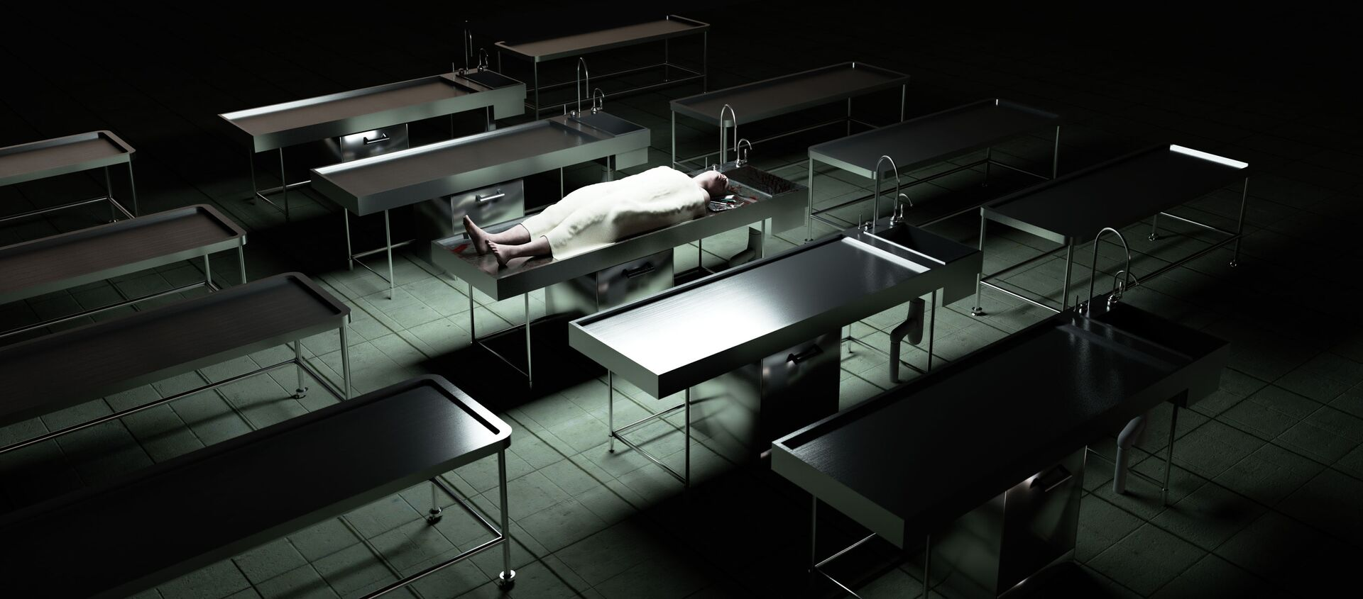Thi thể của một người đàn ông trên bàn trong nhà xác - Sputnik Việt Nam, 1920, 29.11.2020