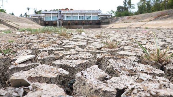 Lòng kênh trạm bơm Bình Phan (Tiền Giang) đã cạn khô, nứt nẻ do không lấy được nước ngọt - Sputnik Việt Nam