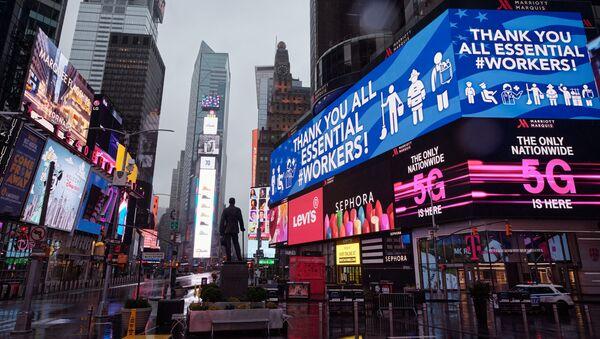 Cảm ơn tất cả các công nhân cần thiết đăng nhập vào Quảng trường Thời đại ở New York - Sputnik Việt Nam