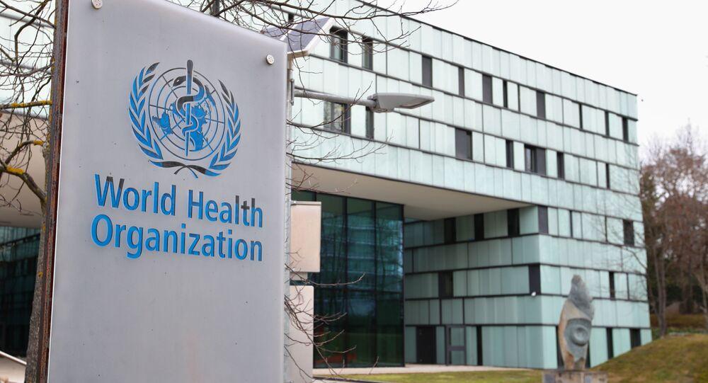 Biểu tượng của Tổ chức Y tế Thế giới tại tòa nhà của WHO ở Geneva, Thụy Sĩ