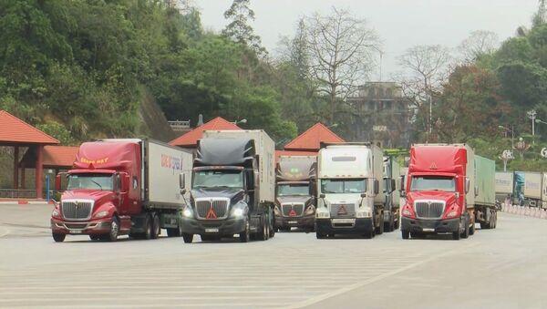 Xe nông sản được bố trí dừng đỗ tại khu xuất nhập cảnh CKQT Hữu Nghị để giảm thiểu ùn ứ.  - Sputnik Việt Nam