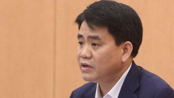 Chủ tịch UBND TP. Hà Nội Nguyễn Đức Chung, Trưởng Ban Chỉ đạo phát biểu tại phiên họp chiều 15/4. - Sputnik Việt Nam