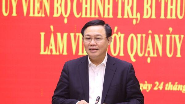 Bí thư Thành ủy Hà Nội Vương Đình Huệ phát biểu chỉ đạo tại buổi làm việc với Quận ủy Hoàn Kiếm. - Sputnik Việt Nam
