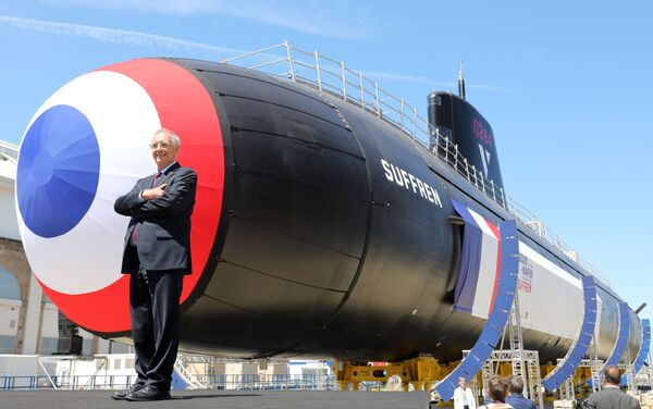 Naval Group CEO Herve Guillou poses during the official launch of the new French nuclear submarine Suffren, built by Naval Group, at the French naval base in Cherbourg, north-western France on July 12, 2019. - The 99-metre-long black steel monster is named after Pierre-Andre Suffren, an admiral who distinguished himself against the English in the 18th century. The actual launch will only take place at the end of July, with a three-year delay, before dockside tests, then at sea, and its delivery to the French Navy in Toulon before summer 2020. - Sputnik Việt Nam