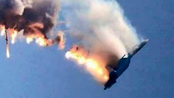 Máy bay Su-24 của Nga rơi trên biên giới Syria-Thổ Nhĩ Kỳ bốc cháy - Sputnik Việt Nam