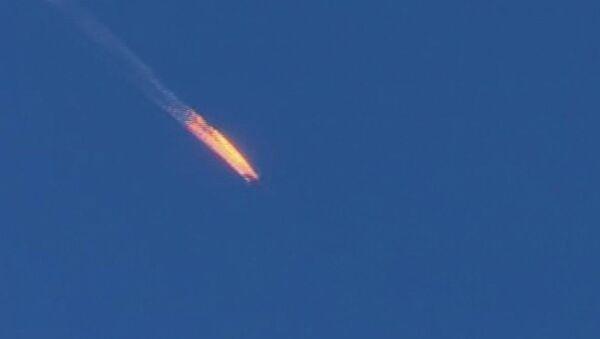 Máy bay Nga Su-24 bốc cháy  sau khi bị bắn trên biên giới Syria-Thổ Nhĩ Kỳ - Sputnik Việt Nam