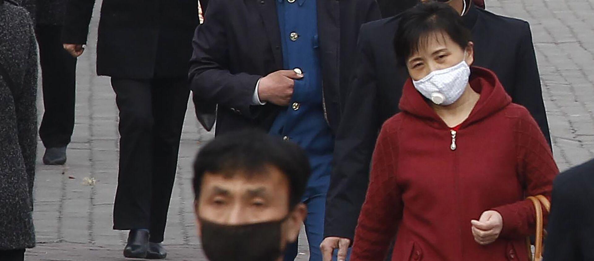Người qua đường đeo mặt nạ y tế trên đường phố ở Bình Nhưỡng, Triều Tiên - Sputnik Việt Nam, 1920, 24.02.2021