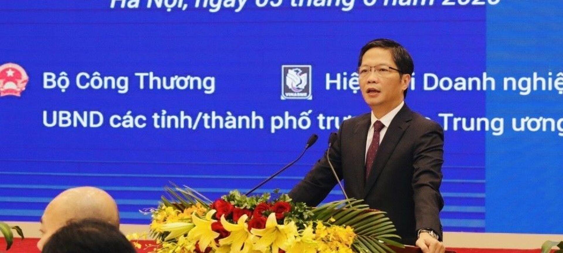 Bộ trưởng Bộ Công Thương Trần Tuấn Anh phát biểu tại hội nghị.  - Sputnik Việt Nam, 1920, 05.06.2020