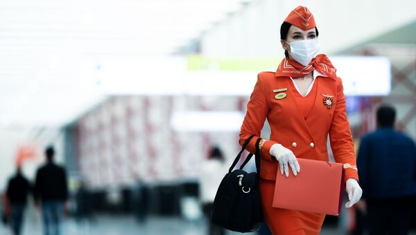 Tiếp viên của hãng hàng không «Aeroflot» tại phi trường Sheremetyevo ở Matxcơva  - Sputnik Việt Nam