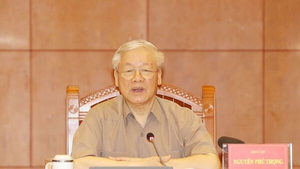 Tổng Bí thư, Chủ tịch nước Nguyễn Phú Trọng, Trưởng Ban Chỉ đạo phát biểu kết luận cuộc họp. - Sputnik Việt Nam