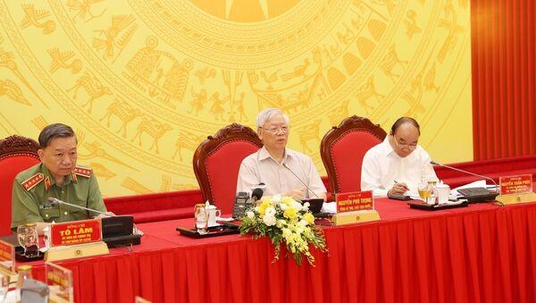 Tổng Bí thư, Chủ tịch nước Nguyễn Phú Trọng phát biểu tại Hội nghị. - Sputnik Việt Nam