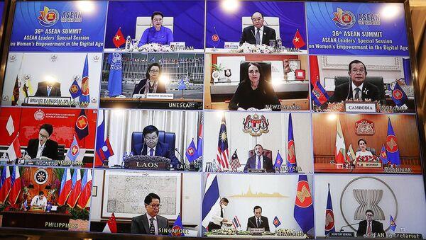 Quang cảnh Phiên họp đặc biệt của các nhà Lãnh đạo ASEAN tại Hội nghị Cấp cao ASEAN 36 về tăng quyền năng phụ nữ trong thời đại số.  - Sputnik Việt Nam