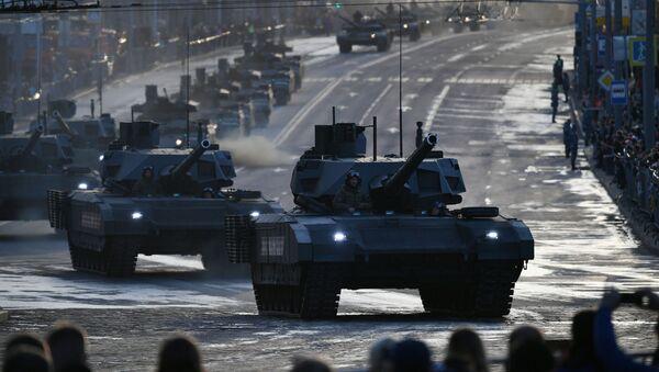 Tank T-14 Armata  đang đi ngang qua phố Krasnaya Presnya - Sputnik Việt Nam
